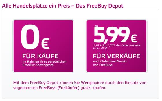 FreeBuy-Depot der OnVista Bank Preismodell